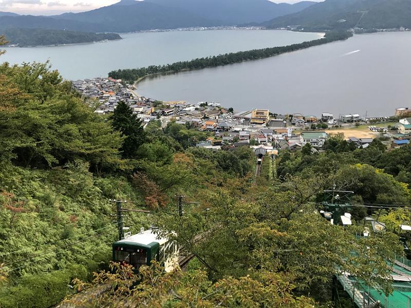 Amanohashidate set fra udsigtspunktet Kasamatsu Park