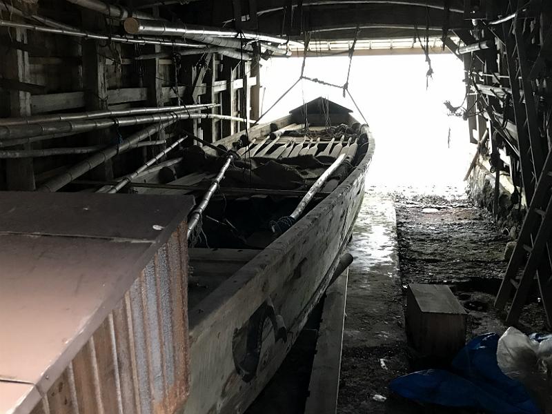 Traditionelt Ine Funaya båthus set indefra